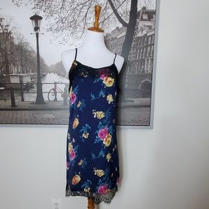 Pins & Needles Anthro Slip dress Blue Floral Lace